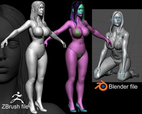 Zbrush Female 3D Sculpture