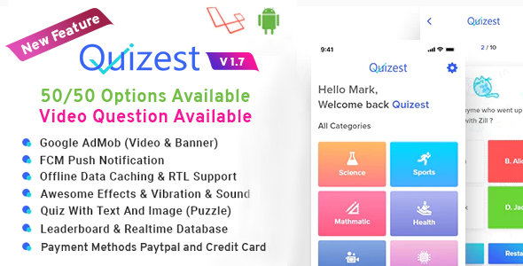 , Quizest – Complete Quiz Solutions With Android App And Interactive Admin Panel, Laravel & VueJs, Laravel & VueJs