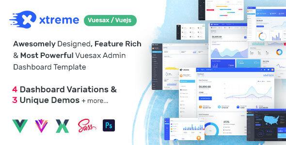 , Xtreme Vuesax Admin Template, Laravel & VueJs