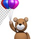 Teddy Bear Flying With Balloons - Baby Shower Concept (2-Pack)