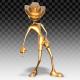 3D Gold Man - Cartoon Pop Dance