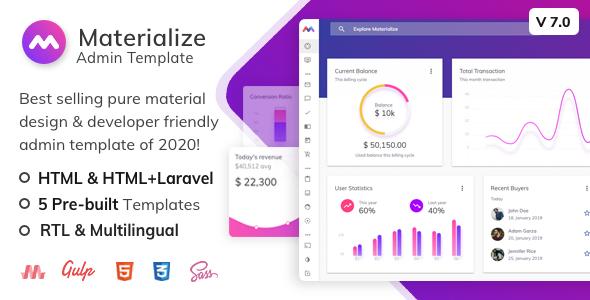 , Materialize – Material Design Admin Template, Laravel & VueJs