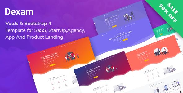 , Dexam – Vue SaaS, Startup & Product Landing Page, Laravel & VueJs, Laravel & VueJs