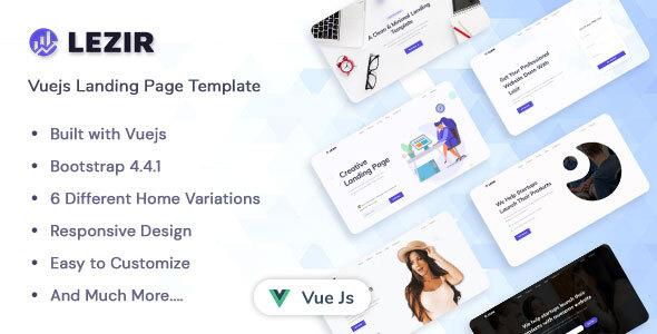 , Lezir – Vuejs Landing Page Template, Laravel & VueJs