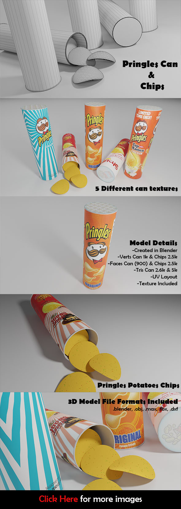 Pringles Can & Shout Potato Chips 3D Model