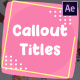 Cartoon Callout Titles | After Effects