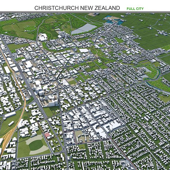 Christchurch City New Zealand 3D Model 50km