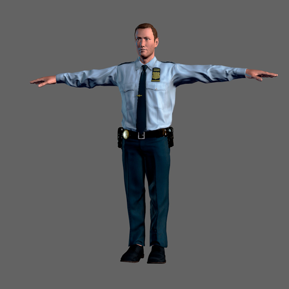 Animated Police Officer-Rigged 3d game character Low-poly 3D model