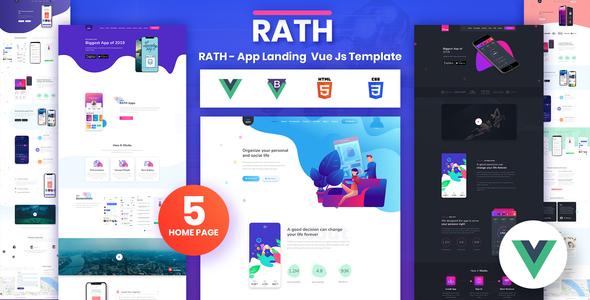 , RATH – App Landing Onepage Vue Js Template, Laravel & VueJs, Laravel & VueJs