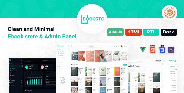, Booksto – VueJS, HTML Minimal Ebook Admin & Shop Template, Laravel & VueJs
