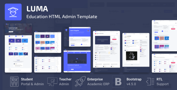 , Luma – Education HTML Learning Management System Admin Template, Laravel & VueJs