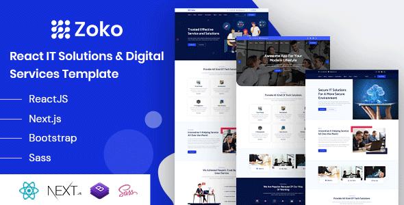 , Zoko – React IT Solutions Template, Laravel & ReactJs