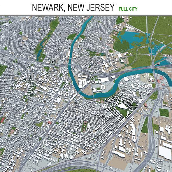 Newark city New Jersey 3d model 30km