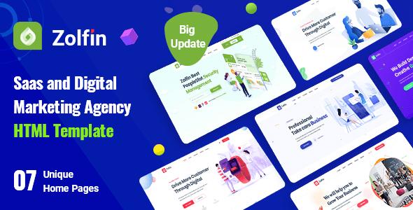 , Zolfin – Saas & Digital Marketing HTML Template, Laravel & ReactJs