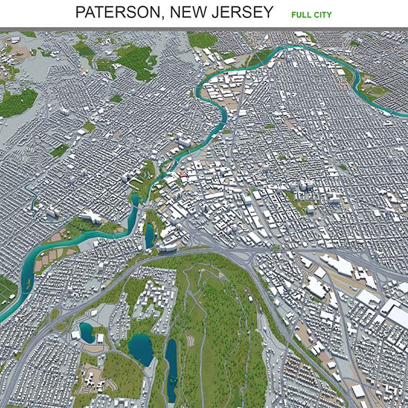Paterson city New jersey 3d model 20km