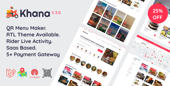, Khana – Multi Resturant Food Ordering, Restaurant Management With Saas And QR Menu Maker, Laravel & VueJs