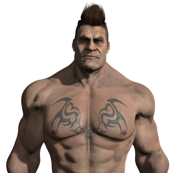 Strong Muscular Male Rigged body