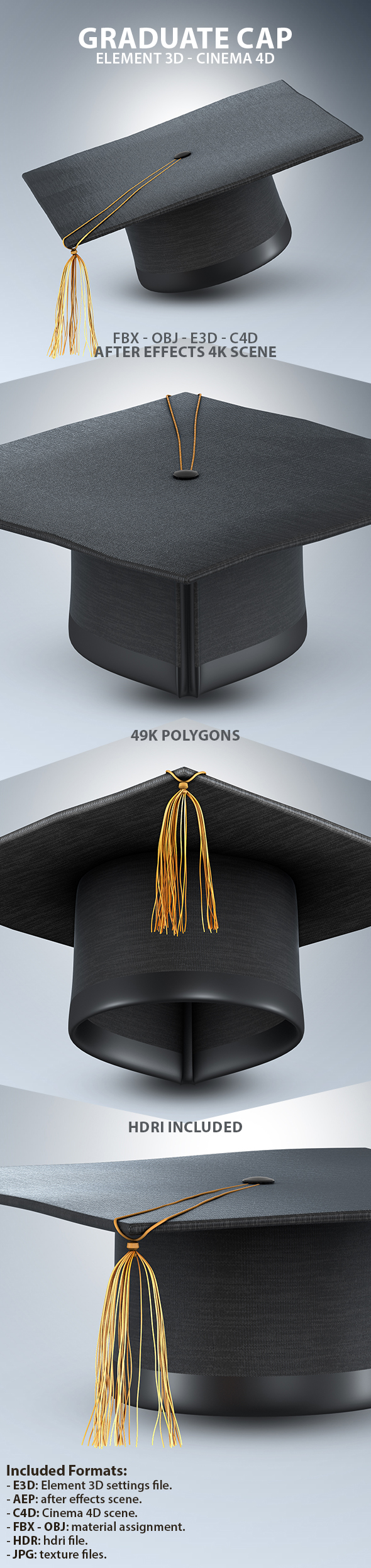 Graduate Cap 3D Model for Element 3D & Cinema 4D