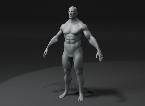 Superhero Male Body Base Mesh 3D Model 10k Polygons