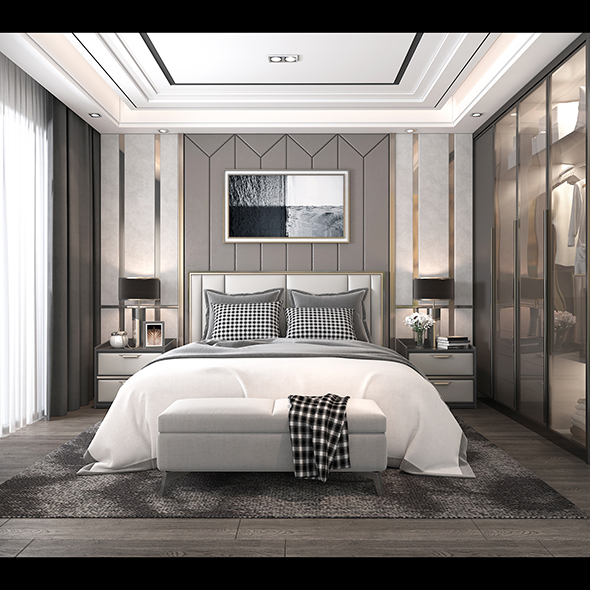 Modern Bedroom Interior Scene