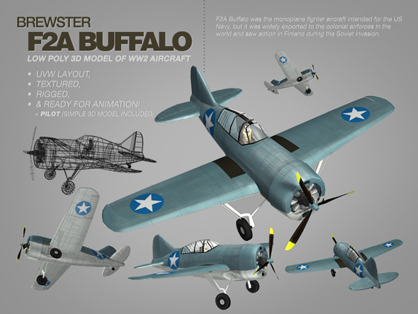 Brewster F2A Buffalo 3ds max model of WW2 aircraft