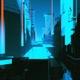 Flying Into Futuristic Sci-Fi Digital City Night
