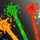Cartoon colored paint streams