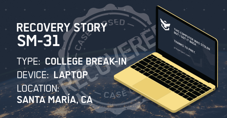 Tracking lost laptop