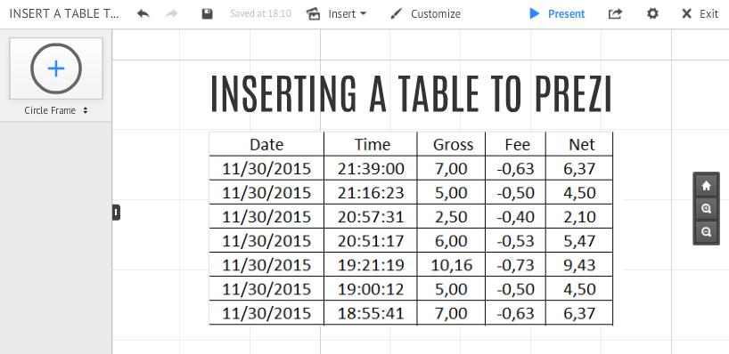Insert A Table To Prezi Classic Prezibase