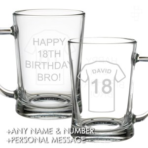 PERSONALISED FOOTBALL SHIRT PINT GLASS