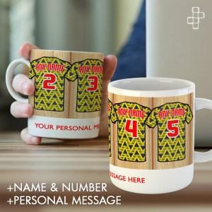 Personalised Retro 1991 Arsenal Away Dressin Room Shirt Mug