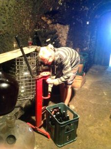 corking the wine bottles