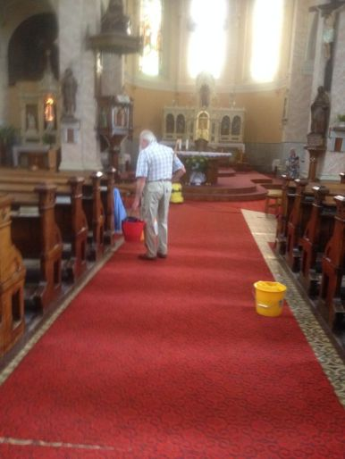 cleaning day at a church