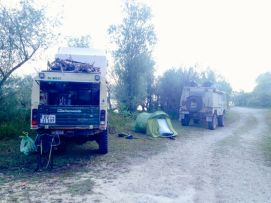 Landrover and Volvo - our neighbours for the night