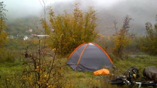 camp in the quietest place available in a valley with a busy road