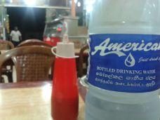 road side restaurant in the muslim quarter of Negombo - American water?