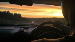 Kostya racing the sunset