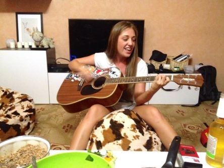 Anya rocking, neighbours sharing our joy