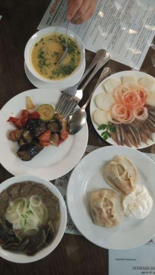 herring, soup, manti & horse