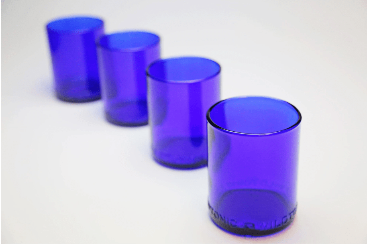 Cobalt Blue Glassware set of 4 made from recycled wine bottles.