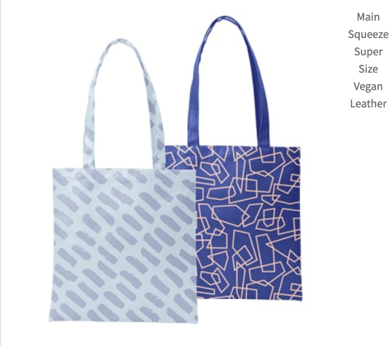 Two pattern examples of a super size vegan leather over the arm tote bags.