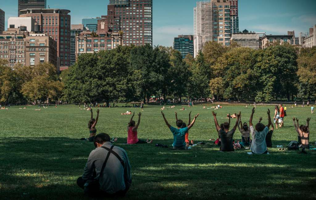 Employee Well Being - Group Exercise In The Park