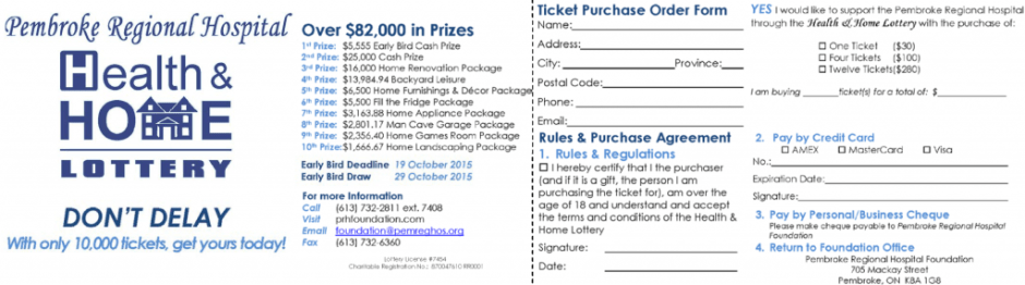 Health & Home Ticket Order Form