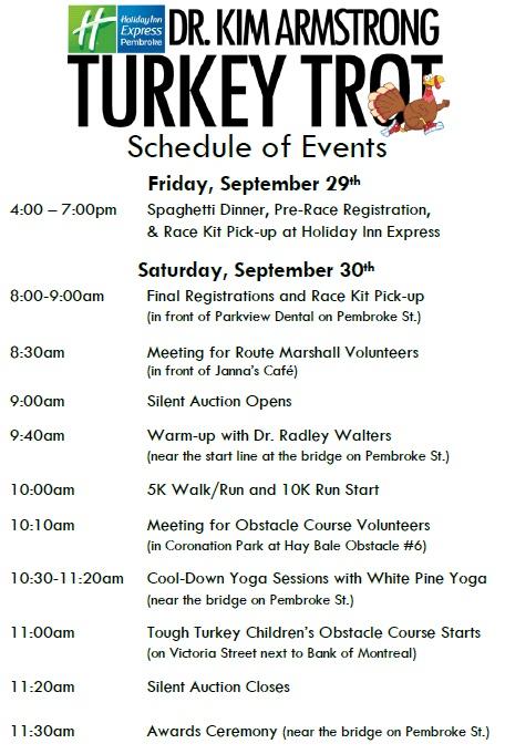 Schedule of Events for Website