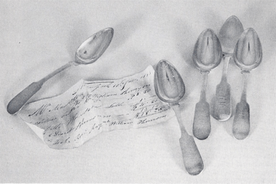 Rare silversmith receipt, 1834, for silver purchased by Masterton, 1834, together with five dessert spoons described in document, by William Thomson.