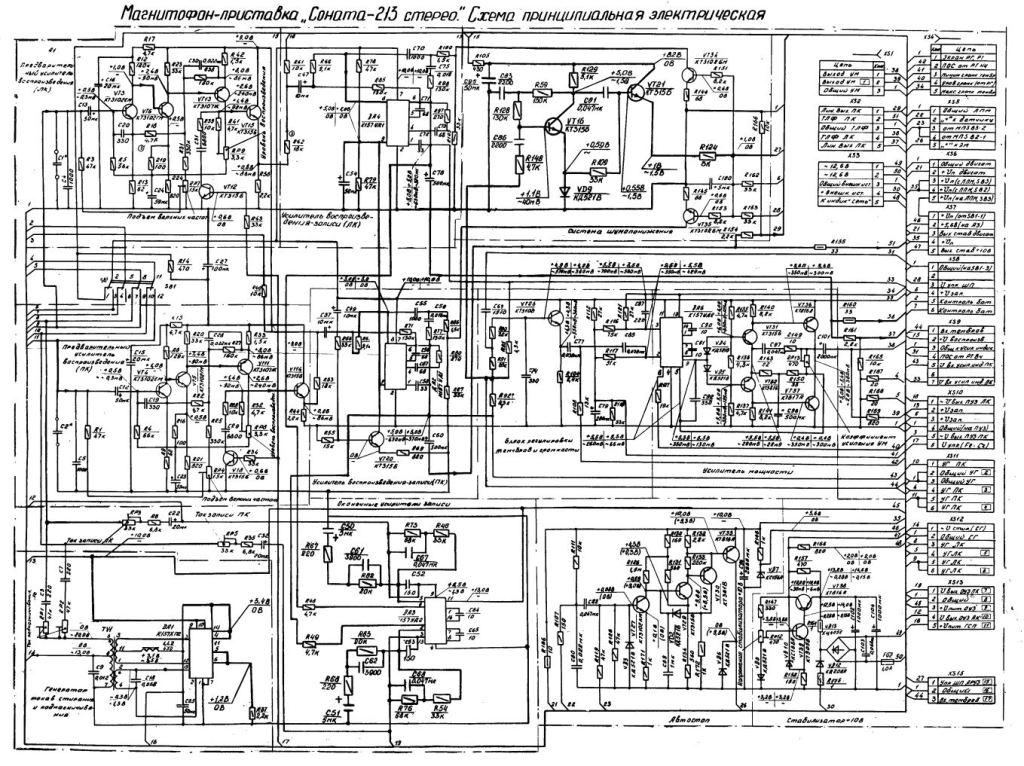 Принципиальная схема магнитофона Соната МП-213С