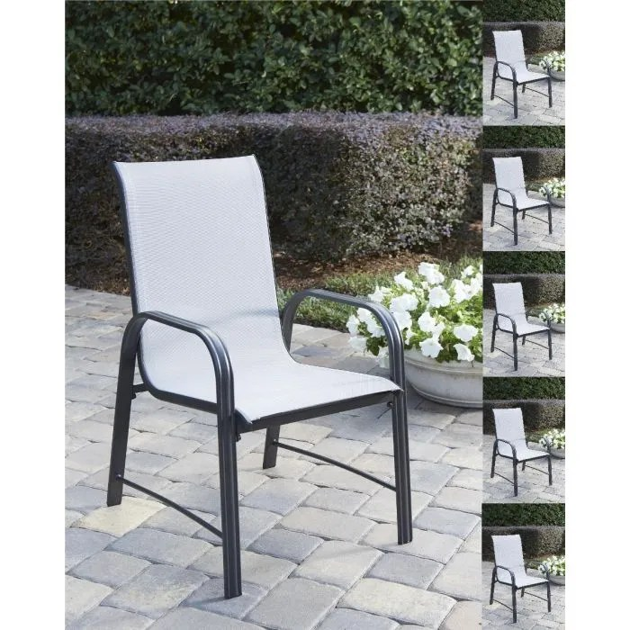 cosco paloma set of 6 outdoor dining chairs light grey mesh grey steel frame