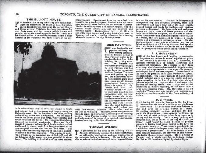 Article on Joe Price (Toronto Illustrated 1893)