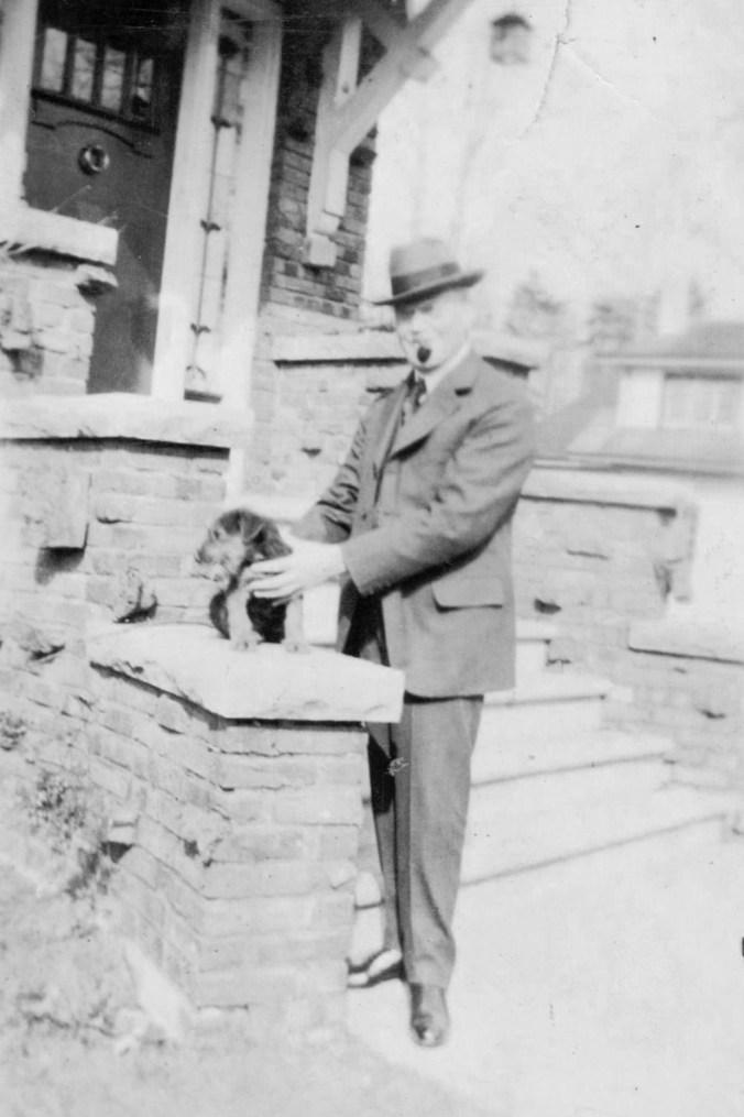 Joseph Price with puppy