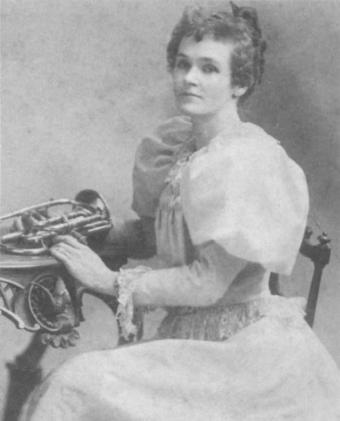 """Helen Elizabeth """"Lizzie"""" Leslie with her Cornet"""